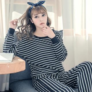 ชุดนอนผู้หญิง ลายขวาง แขนยาวขายาว สไตล์เกาหลี สวมใส่สบาย พร้อมส่ง