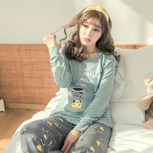 ชุดนอนผู้หญิง MILK ลายน่ารัก แขนยาวขายาว สไตล์เกาหลี สวมใส่สบาย พร้อมส่ง