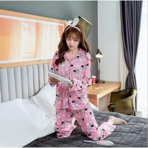 ชุดนอนแฟชั่นเกาหลี ลายกระต่ายสีชมพูสดใส เสื้อแขนยาวกระดุมหน้า น่ารักๆ สินค้าพร้อมส่ง