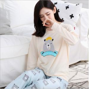 ชุดนอนแขนยาว ลายน้องหมี แฟชั่นสไตล์เกาหลี น่ารัก เนื้อนุ่ม (L XL 2XL)