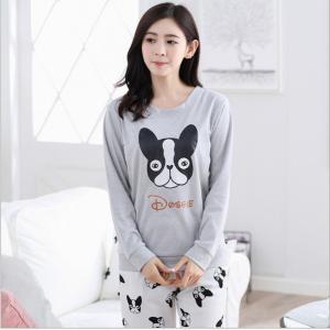 ชุดนอนแขนยาว แฟชั่นสไตล์เกาหลี ลายน้องหมา ผ้านิ่มใส่สบาย (L XL 2XL)
