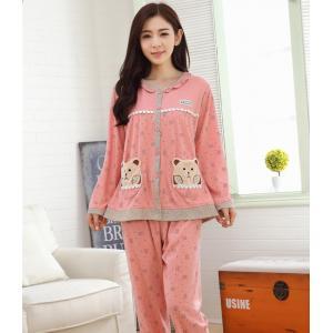 ชุดนอนน่ารัก สำหรับผู้หญิง แบบกระดุมหน้า หลายน้องหมีทั้งชุด