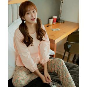 ชุดนอนผู้หญิง แฟชั่นสไตล์เกาหลี เสื้อสีโอโรส กางเกงลายดอกไม้ น่ารักมากมาย พร้อมส่ง