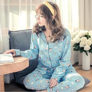 ชุดนอนน่ารัก สำหรับผู้หญิง แบบกระดุมหน้า ลายวัวแสนน่ารัก สไตล์เกาหลี