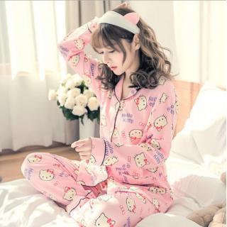 ชุดนอนผู้หญิง แบบกระดุมหน้า ลายคิตตี้แสนน่ารัก แฟชั่นสไตล์เกาหลี