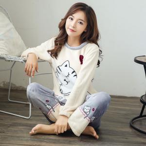 ชุดนอนน่ารัก ใส่กันหนาว สไตล์เกาหลี ผ้านุ่มนิ่ม ลายเจ้าเหมียวขี้เซา