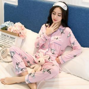 ชุดนอนแขนยาวน่ารัก ลายกระต่ายสไตล์เกาหลี แบบกระดุมหน้า เนื้อผ้านุ่ม