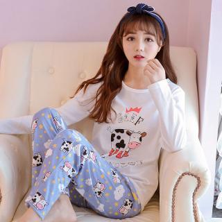 ชุดนอนน่ารัก เกาหลี แขนยาวขายาว ลายน้องวัวคิวท์ๆผ้านุ่ม (L-3XL)
