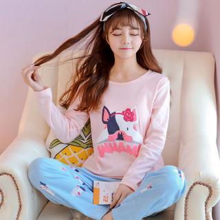 ชุดนอนน่ารัก แขนยาว ผ้านิ่ม ลายหมาปี๊ก ทรงสวยสไตล์เกาหลี ใส่สบาย