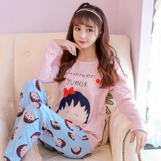 ชุดนอนน่ารัก แขนยาวขายาว เนื้อผ้านุ่ม ลายมารูโก๊ะจอมซ่า น่ารักสดใส สไตล์เกาหลี