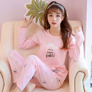ชุดนอนเกาหลี แขนยาวขายาว ผ้าคอตตอนนุ่มๆ น้องแมว Happy Easter หวานๆน่ารักที่สุด