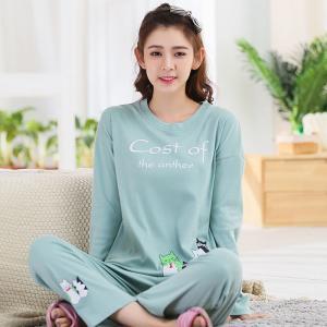 ชุดนอนน่ารัก แขนยาวขายาว แฟชั่นเกาหลี แต่งลายน้องแมวน่ารักๆ ใส่สบายมากๆ