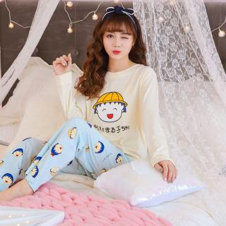ชุดนอนแขนยาว ผ้าคอตตอนเนื้อนุ่ม ลายมารูโกะจอมซ่า สีสันสดใส สวมใส่สบาย