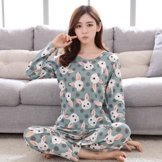 ชุดนอนน่ารัก แขนยาวขายาว สำหรับผู้หญิง แฟชั่นสไตล์เกาหลี ลายกระต่ายน่ารักสดใส ผ้านิ่มใส่สบาย