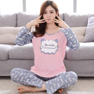 ชุดนอนเกาหลี แขนยาวขายาว ลายน้องเหมียวสุดน่ารัก ผ้านุ่มๆ สวมใส่สบาย