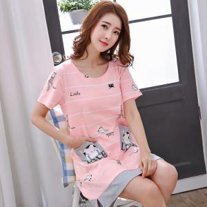 ชุดนอนกระโปรงน่ารัก สไตล์เกาหลี ผ้านุ่ม Cotton 100% 1709238