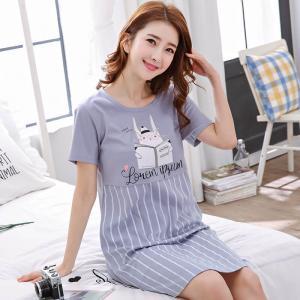 ชุดนอนกระโปรง สไตล์เกาหลี ผ้านุ่ม ลายขวาง Cotton 100% 1709239
