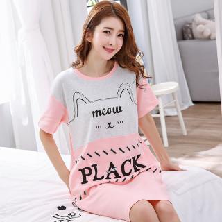 ชุดนอนแบบกระโปรง เดรสยาวสไตล์เกาหลี คิวท์ๆ cotton100% 1709240
