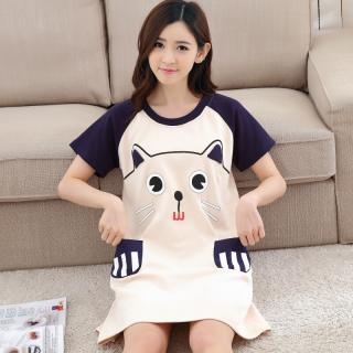 ชุดนอนกระโปรงยาว ลายน่ารัก แมวเหมียว Cotton 1709243