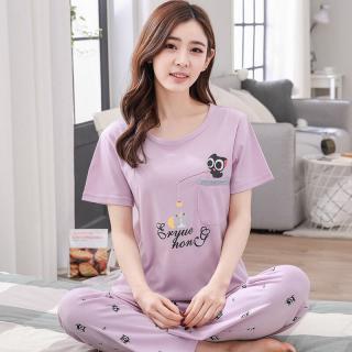 ชุดนอนน่ารัก สีม่วง แขนสั้น กางเกงขายาว Cotton เจ้าเหมียวดำ 1709263