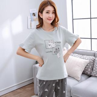 ชุดนอนเกาหลี ไม่เชย ไม่เอ้าท์ เสื้อแขนสั้น กางเกงขายาว Cotton 1709264