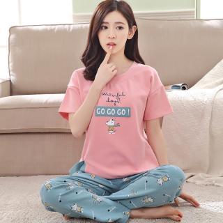 ชุดนอนเกาหลี ไม่เชย ไม่เอ้าท์ เสื้อแขนสั้น กางเกงขายาว Cotton 1709265