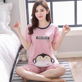 ชุดนอนน่ารักแบบแขนสั้น Cotton 100% ลายเจ้าลิงน่ารัก ขา3ส่วน