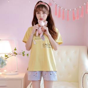 ชุดนอนน่ารัก แขนสั้น ทรงสวยสไตล์เกาหลี ผ้าคอตตอน 100%