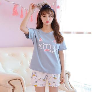 ชุดนอนสไตล์เกาหลี แขนสั้น ขาสั้นลายแมวเหมียว Cotton 100% 1803250