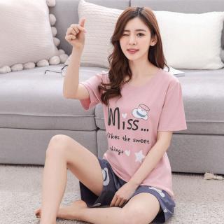 ชุดนอนน่ารัด เสื้อแขนสั้น กางเกงขาสั้น MISS Cotton 100% 1803251