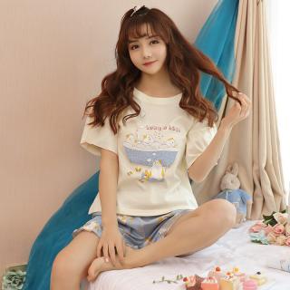 ชุดนอนน่ารัก เสื้อแขนสั้น กางเกงขาสั้น สไตล์เกาหลี ลายน้องแมวแช่อ่างคิวท์ๆ ผ้านุ่ม SIZE M,L