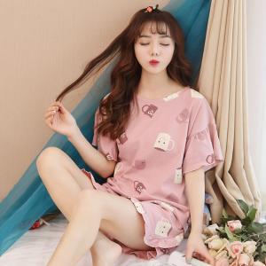 ชุดนอนน่ารัก แขนสั้นขาสั้น ลายถ้วยชา สวยแบ้วสไตล์เกาหลี มี ไซส์ M L