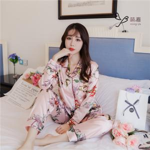 ชุดนอนแขนยาว เสื้อคอปก กระดุมหน้า สไตล์เกาหลี ผ้าซาติน ลายดอกไม้สีชมพูสด