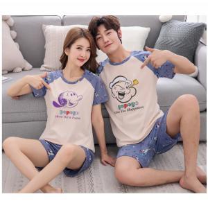 ชุดนอนคู่รัก ชายหญิง เนื้อผ้า Cotton 100% ลายป๊อปอายและโอลีฟ (ราคาต่อชุด)