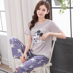 ชุดนอนแขนสั้น กางเกงขายาว ลายมิกกี้ ผ้า Cotton 100% ใส่สบาย
