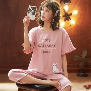 ชุดนอนแขนสั้น กางเกงขาสี่ส่วน ลายน้องแมวน่ารัก สไตล์คุณหนู LKC2006001