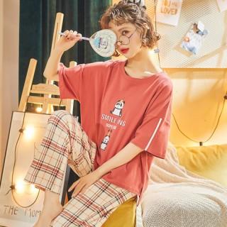 ชุดนอนแขนสั้น กางเกงขายาว ลายตาราง น้องแพนด้า LKC2006022