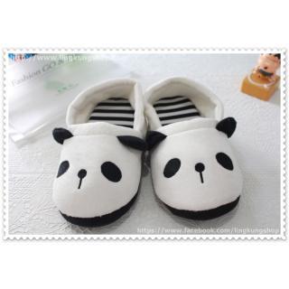 รองเท้าใส่ในบ้าน ลายหมีแพนด้า ขาวดำแบบปิดส้น