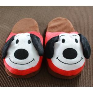 รองเท้าใส่ในบ้าน รองเท้าตุ้กตา ลายน้องหมา ขอบแดงน่ารัก