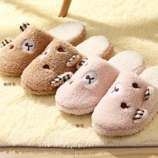 รองเท้าใส่ในบ้าน ลายน้องหมีหูคู่ ขนปุย พื้นยาง มี 2สี