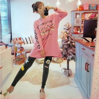 ชุดนอนน่ารักแขนยาวขายาวเข้ารูป สไตล์เกาหลี ลายโดนัลด์ดั๊ก (M L XL)