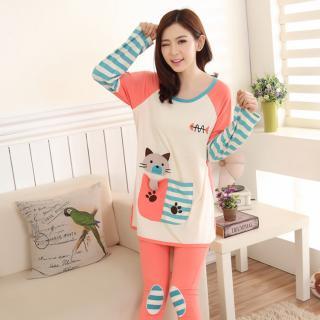 ชุดนอนน่ารัก สไตล์เกาหลี ลายเจ้าเหมี่ยว งานปักผ้ายืดคุณภาพดี ใส่สบายมาก