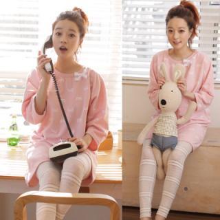 ชุดนอนน่ารักสไตล์เกาหลี แขนยาวขายาว ผ้านิ่มใส่นอนสบาย M L XL (รุ่นผ้ายืด)