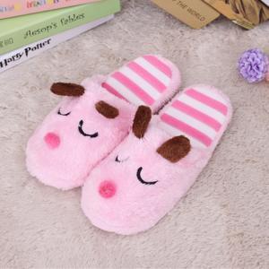 รองเท้าสลิปเปอร์ ใส่ในบ้าน สีชมพู ลายน้องหมารัก ขนปุยนุ่ม เท้า 37-40
