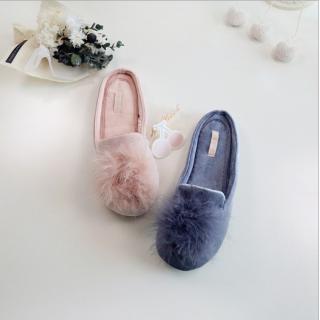 รองเท้าใส่ในบ้าน ฟรีเมี่ยม ยี่ห้อ Halluci ขนนุ่มปุย น่ารักสไตล์เกาหลี พื้น PVC อย่างดี