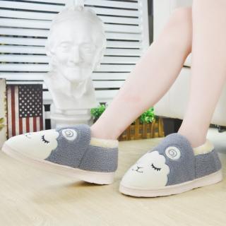 รองเท้าใส่ในบ้าน แกะอัลปาก้า ขนปุยนุ่มๆ ปิดส้น