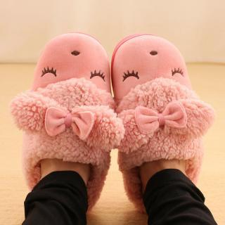 รองเท้าใส่ในบ้าน สไตล์เกาหลี แกะขนปุยหนานุ่ม ใส่สบายเท้า