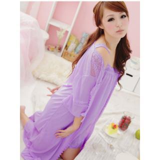 ชุดนอนเซ็กซี่ สีม่วงหวานๆ พร้อมเสื้อคลุม น่ารักไม่โป้