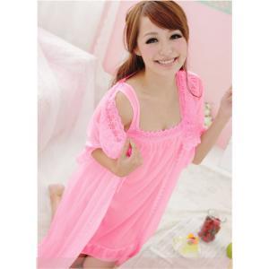 ชุดนอนเซ็กซี่ สีชมพูหวานๆ พร้อมเสื้อคลุม น่ารักไม่โป้