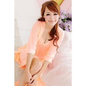 (สาวอวบ)ชุดนอนเซ็กซี่ สีส้มหวานๆ พร้อมเสื้อคลุม น่ารักไม่โป้
